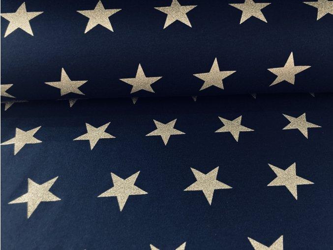 Teplákovina nepočesaná hvězdy na modrém