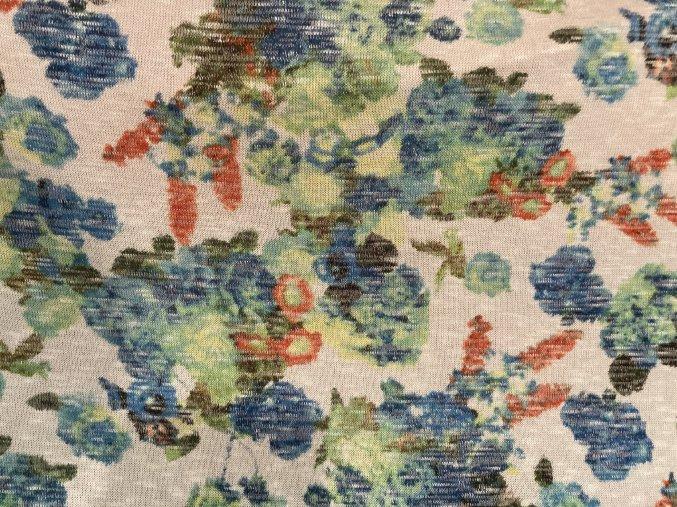 výprodej - svetrovina květy modré