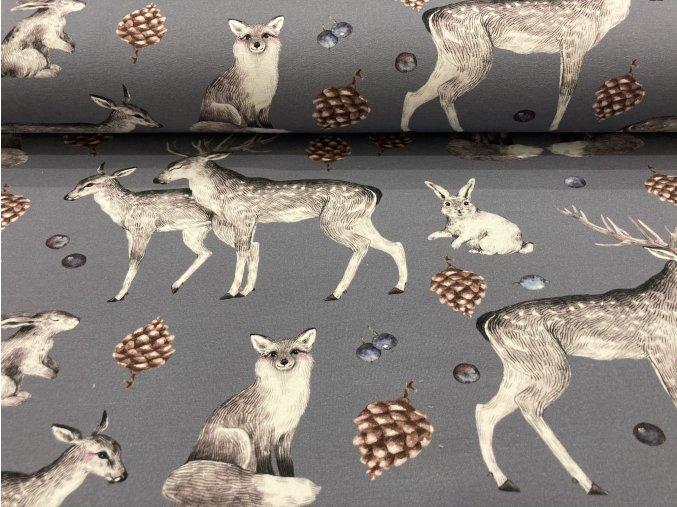 Teplákovina nepočesaná jeleni na šedé