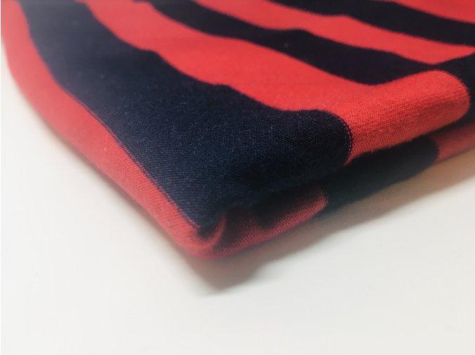 Úplet červená tmavě modrý proužek