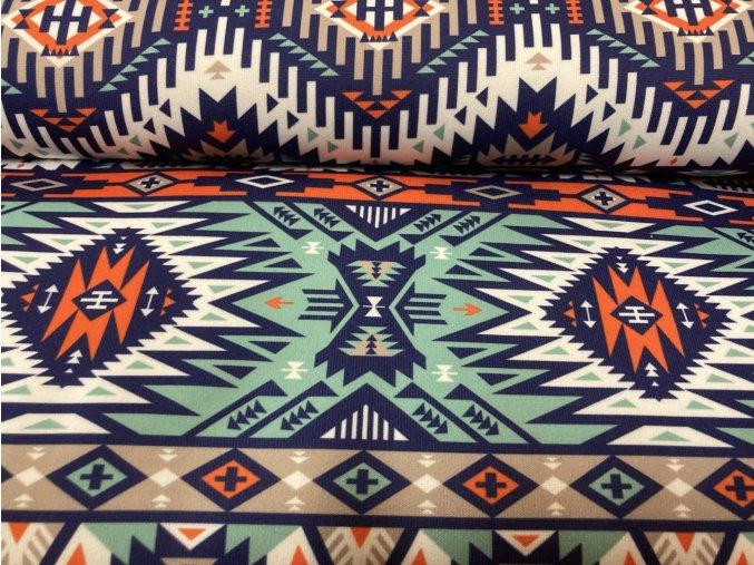 Teplákovina počesaná aztécký vzor