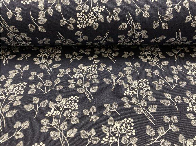 Teplákovina nepočesaná džíns květy