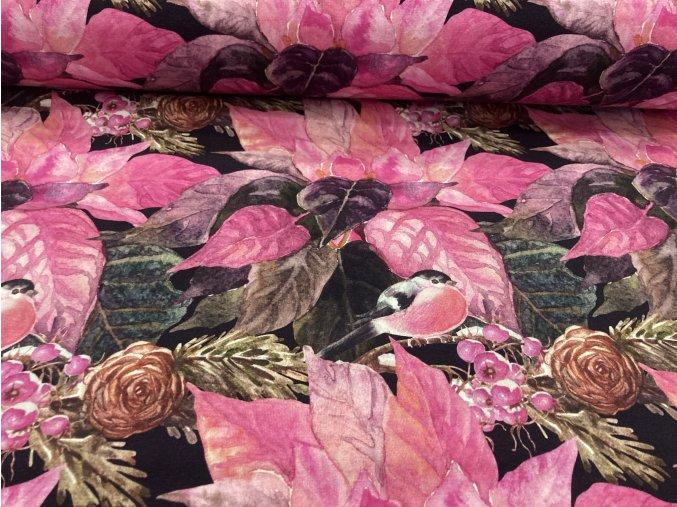 Úplet ptáček na růžové
