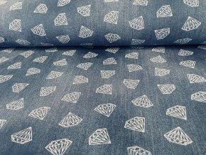 Teplákovina počesaná diamanty ala jeans