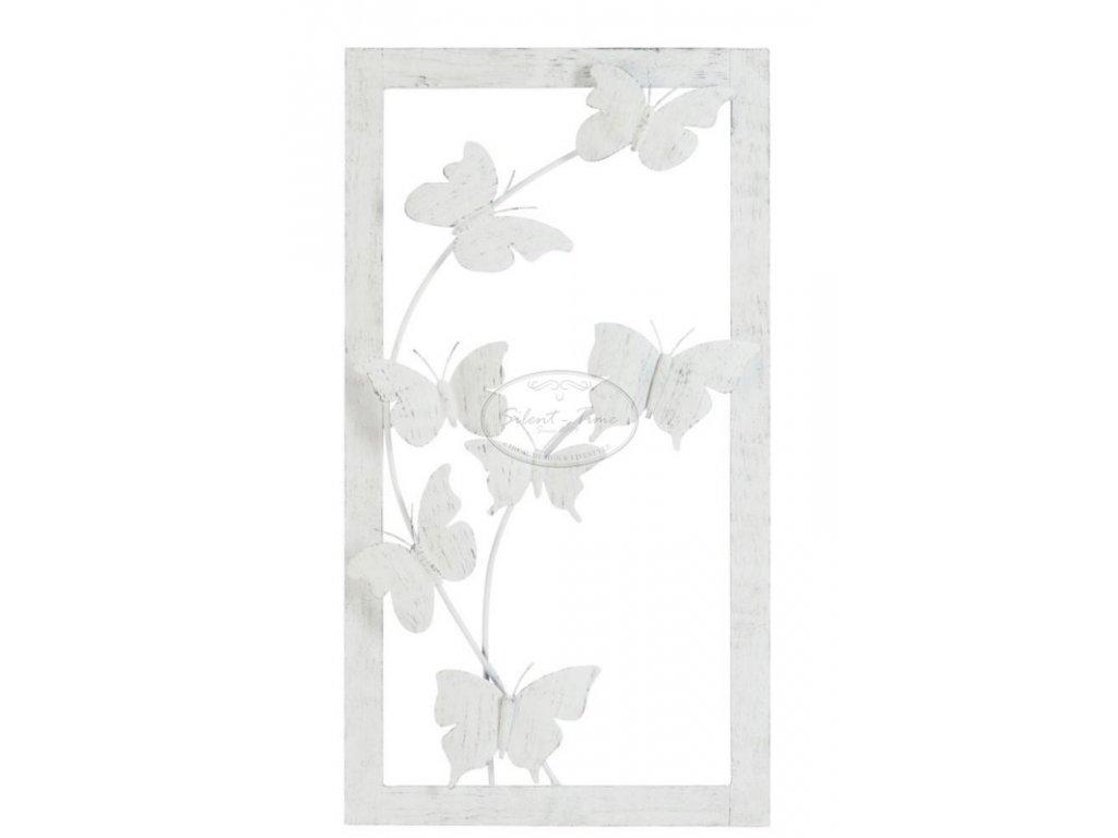 Kovový obraz BUTERFLY WHITE