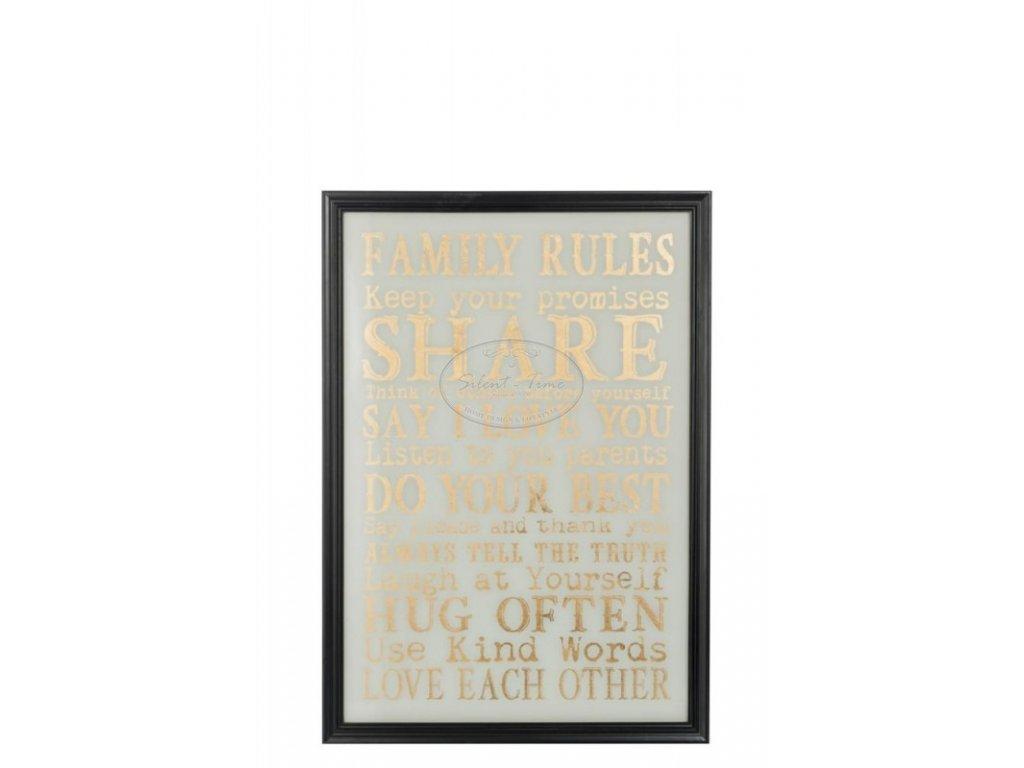 Obraz skleněný FAMILY RULES
