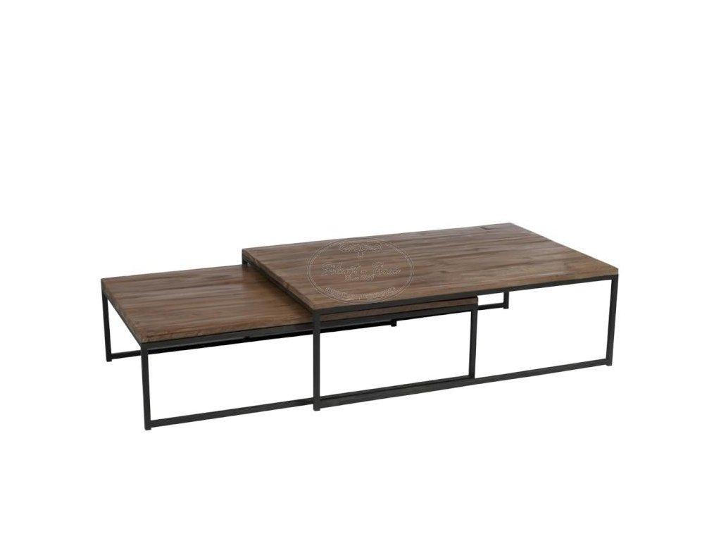 Set kovových stolků s dřevěnou deskou LOFT 26