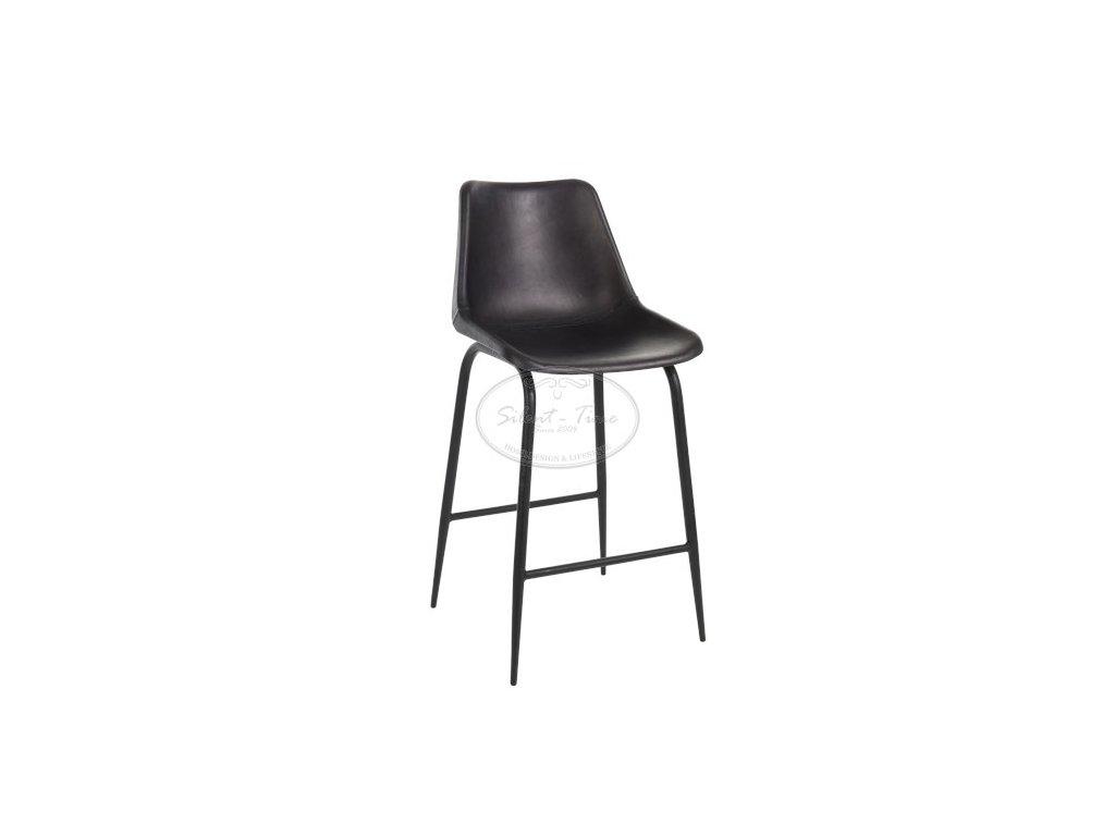 Kožená židle barová POLO BLACK