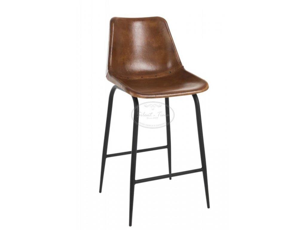 Kožená židle barová POLO COGNAK