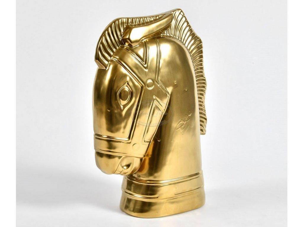 Soška hlavy KONĚ zlatá