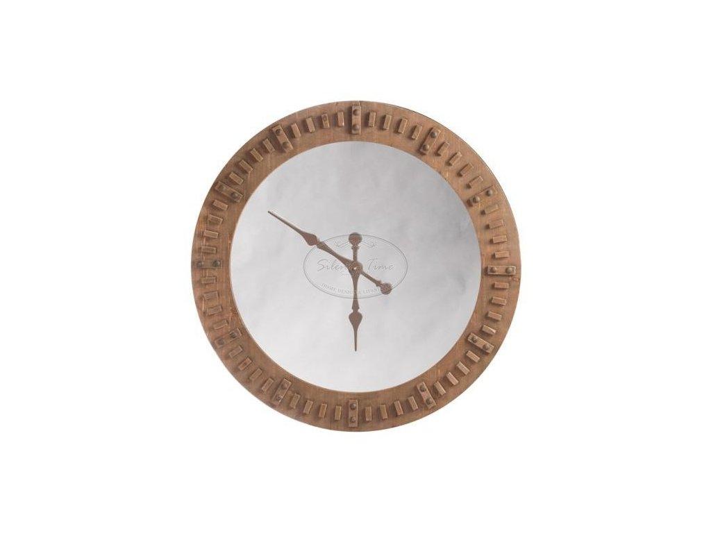 Dřevěné hodiny se zrcadlem GARDEN L