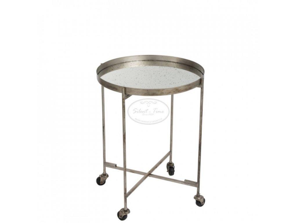 Kulatý stolek pojízdný se zrcadlem
