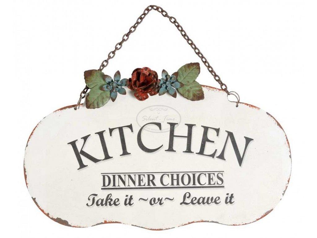 Kovová cedulka Kitchen s květinou