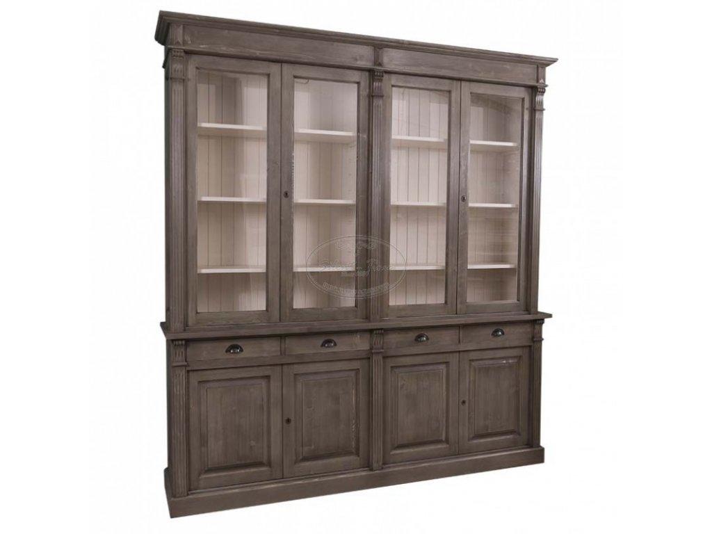 Dřevěná knihovna prosklená PS16-72