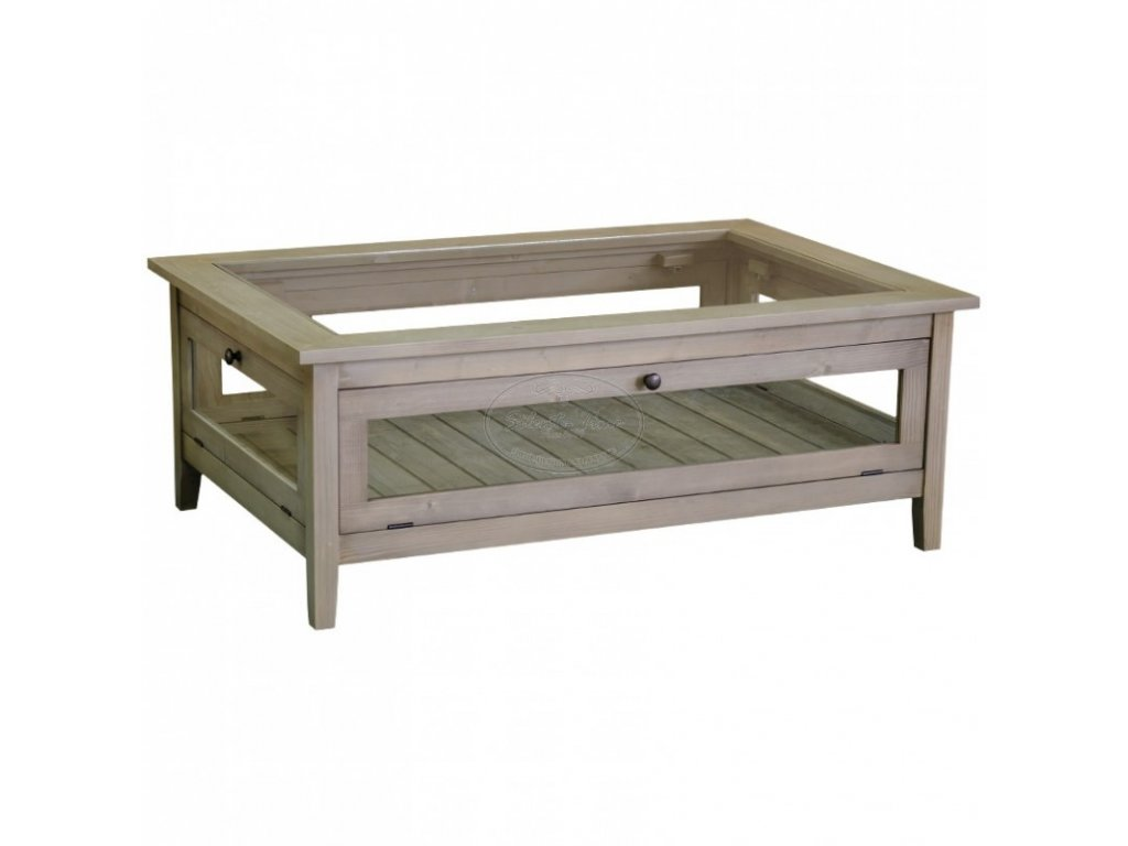 Konferenční stolek dřevěný - prosklený PS-183