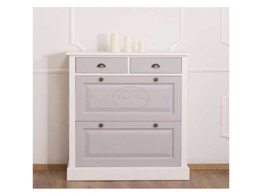 Botník dřevěný šedá s bílou