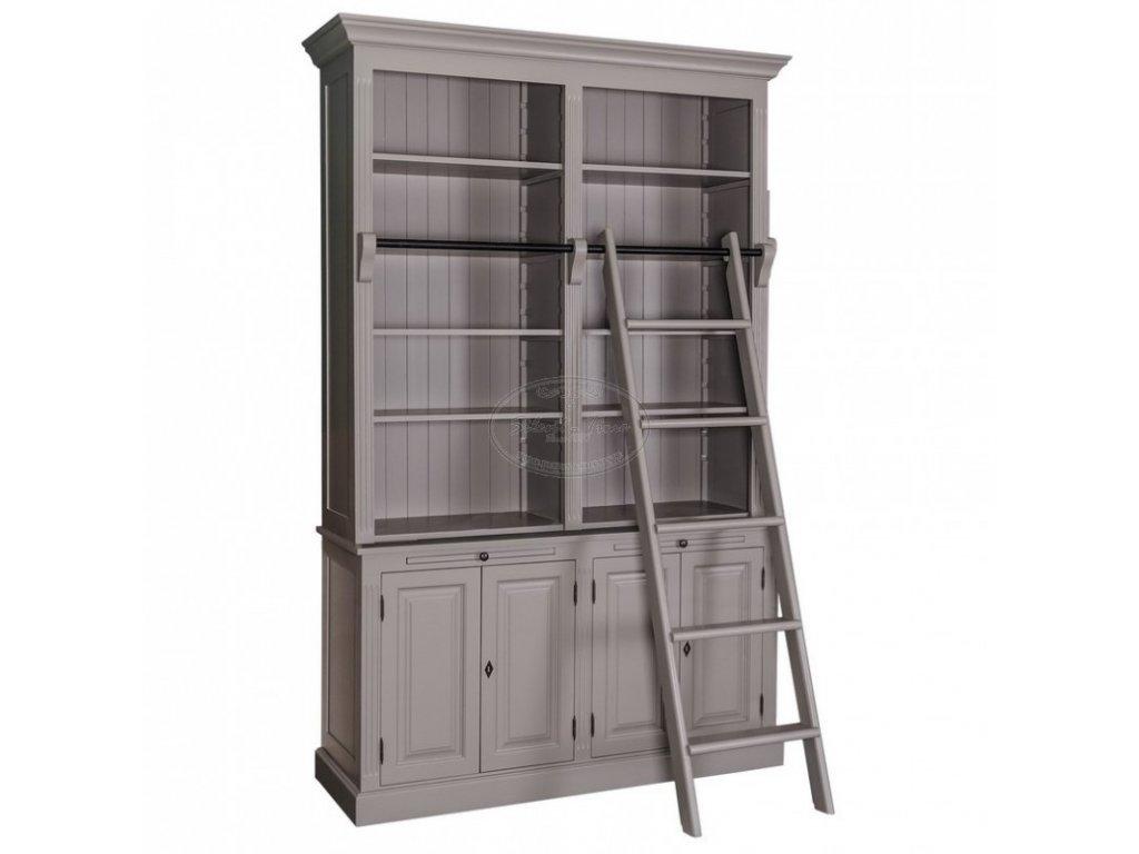 Dřevěná knihovna se žebříkem PS-405BSZ