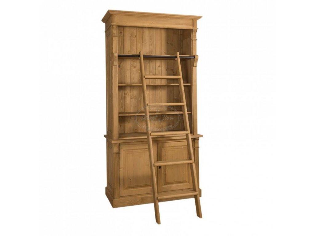Dřevěná knihovna se žebříkem PS75BSZ