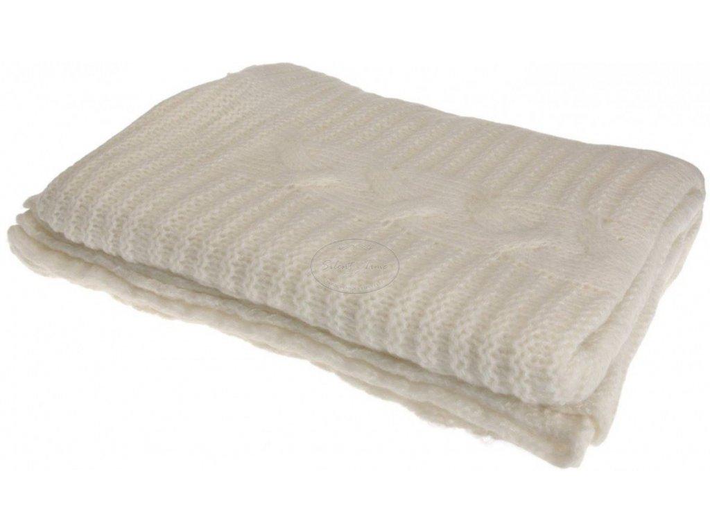 Pletená krémová deka
