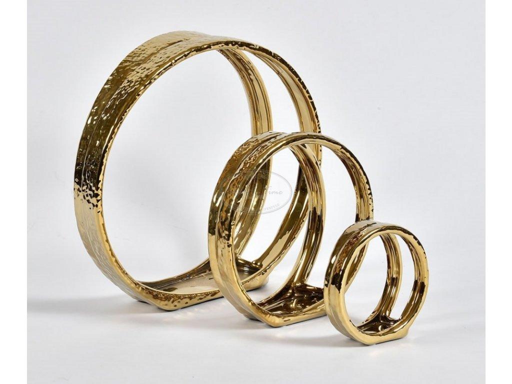 Kovový svícen CIRCLE GOLD LINE