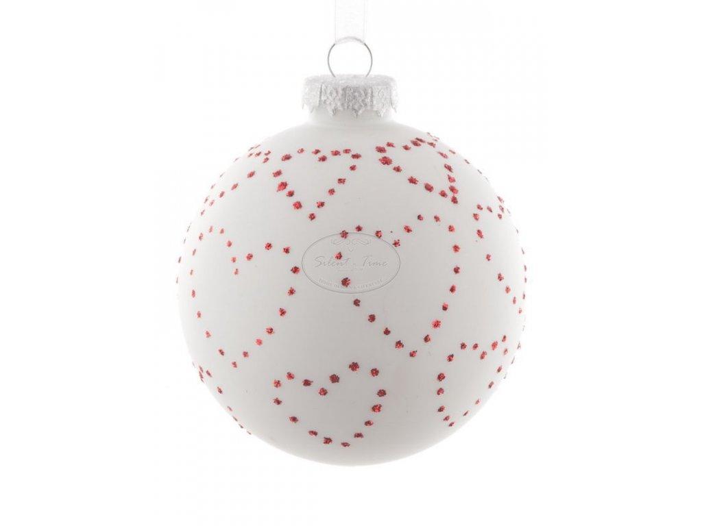 Ozdoba vánoční bílá s červenými srdíčky
