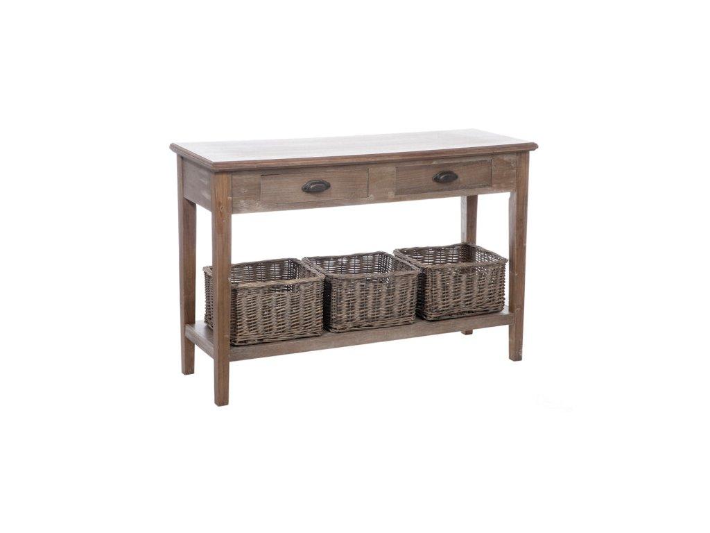 Dřevěný konzolový stolek s košíky LUISA