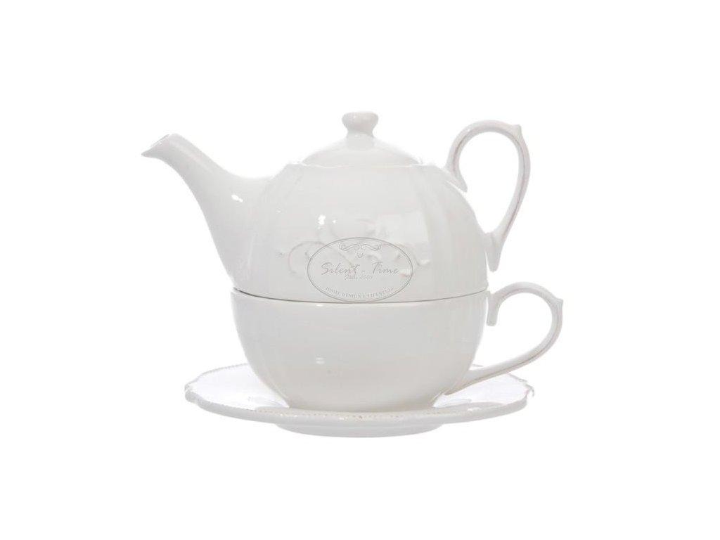 Čajová konvička bílá HEART