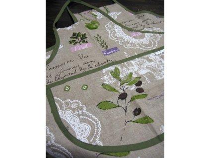 Zástěra lněná olivová