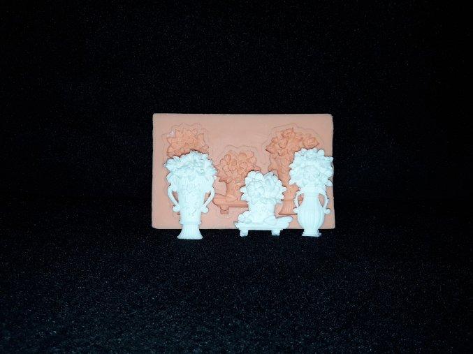Silikonová formička vázičky s kytkami 5131