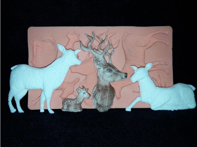 Silikonová formička jelen, laň a kolouch 2141