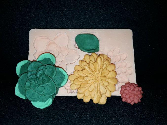 Silikonová formička sukulenty-květy 4053