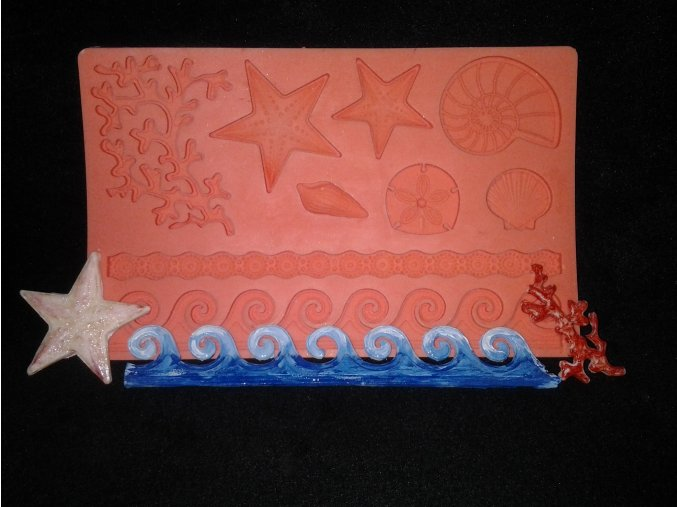 Silikonová formička deska s mořskými motivy 5013