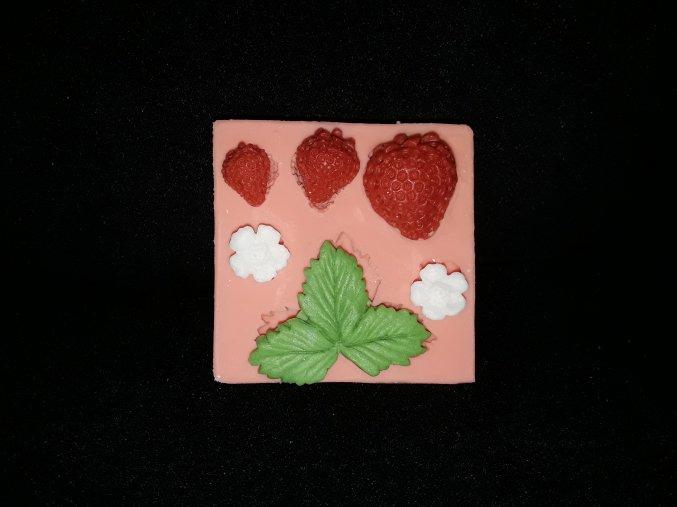 Silikonová formička jahůdky s květy a listy 4078