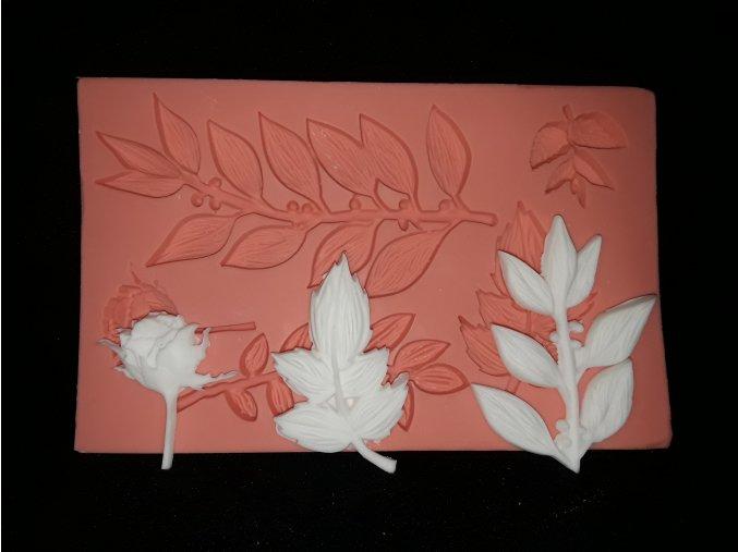 Silikonová formička listy s růžičkou 4081