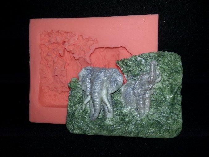Silikonová formička sloni-reliéf 2099