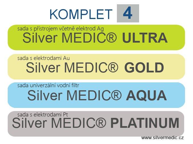komplet 4 sady sillvermedic ultra aqua gold platinum