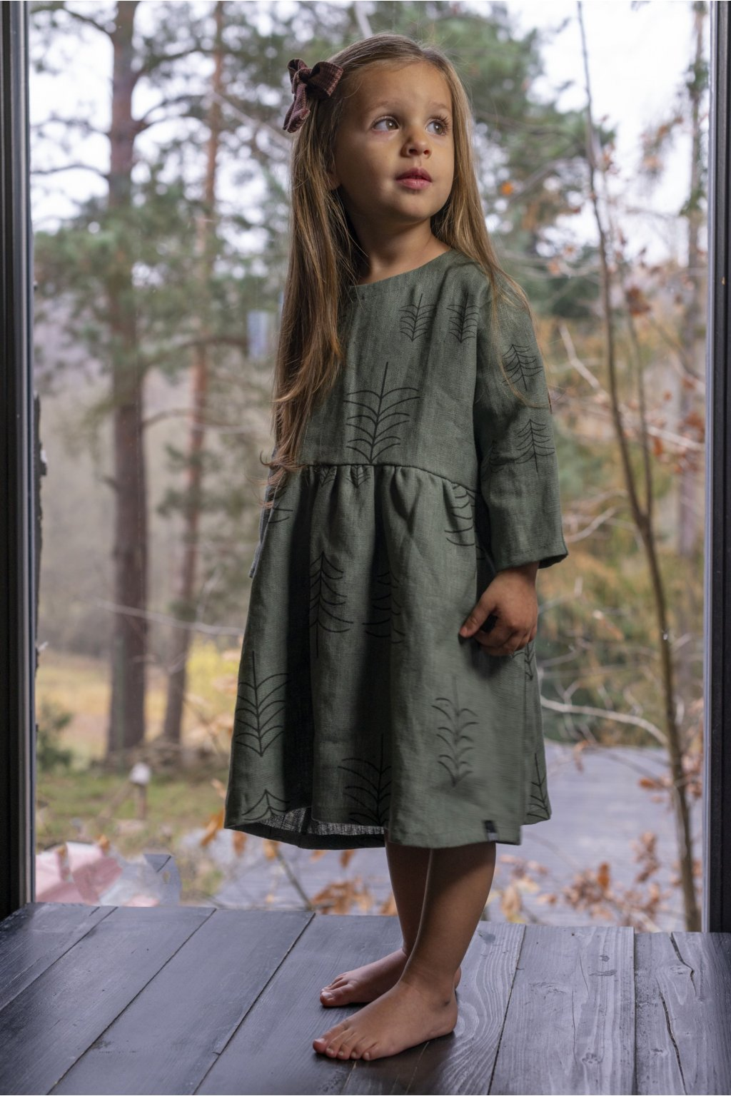 Lněné šaty dětské - potisk