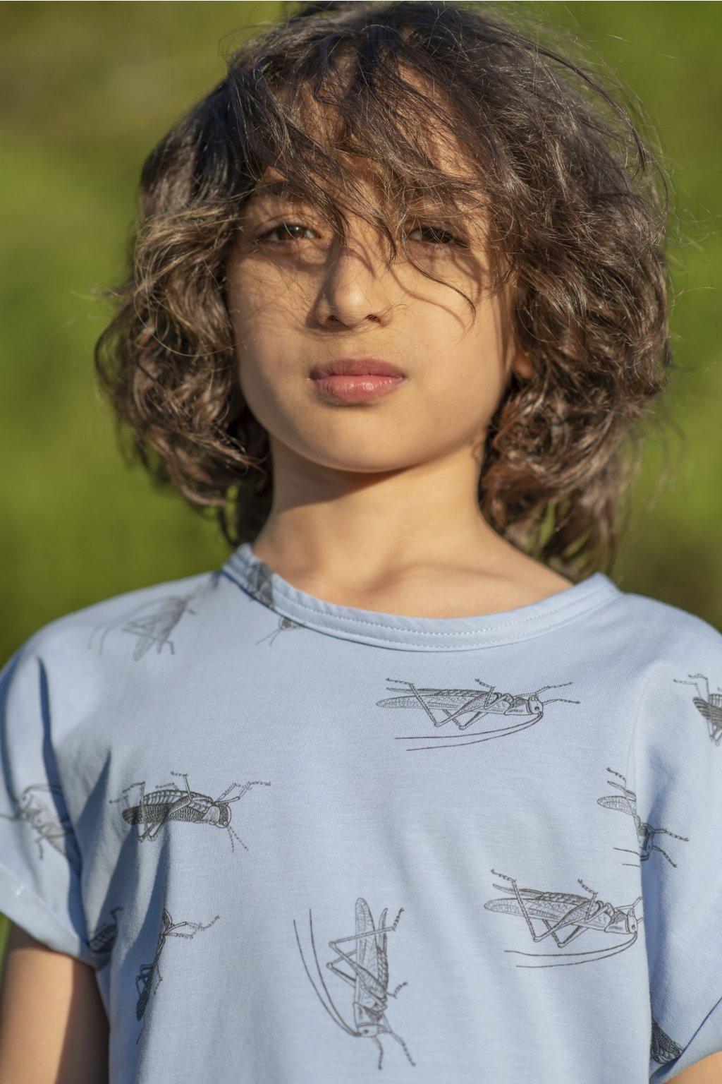 """Dětské triko s krátkými rukávy a autorským potiskem """"kobylky"""""""