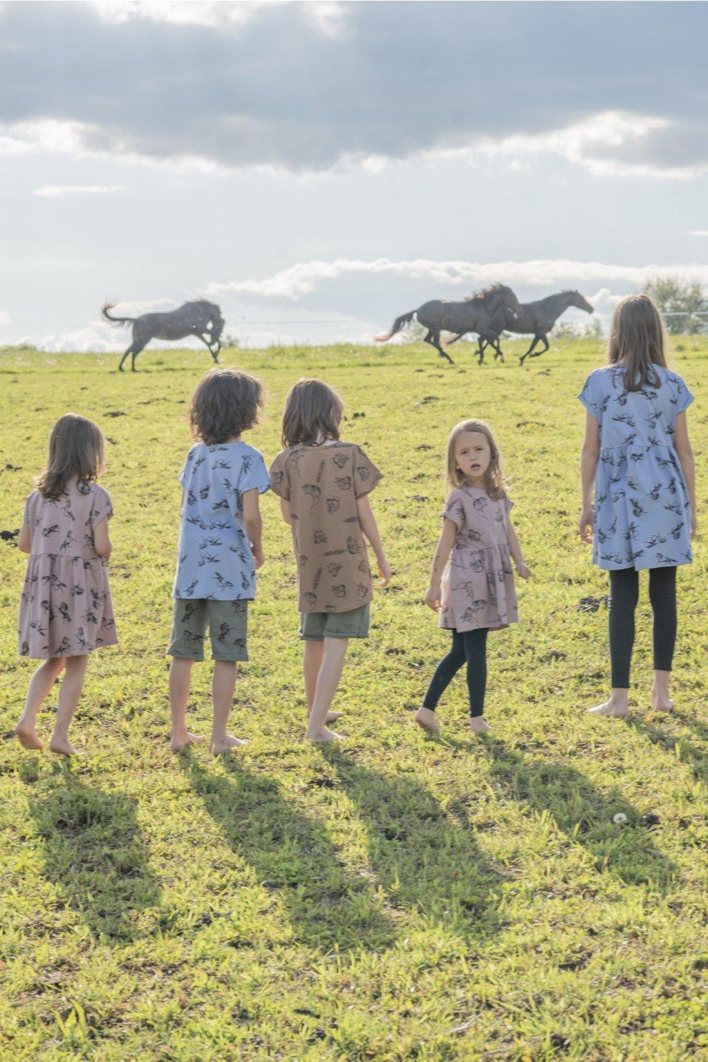 Dětské šaty úplet s autorským potiskem - myšky starorůžová