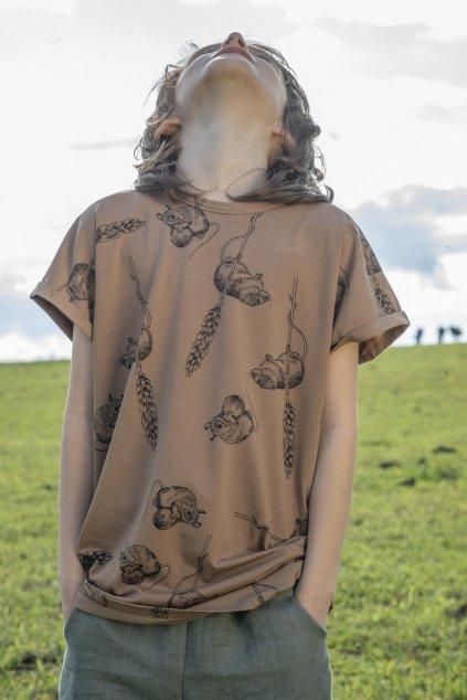 Dětské triko s krátkými rukávy a autorským potiskem - myšky