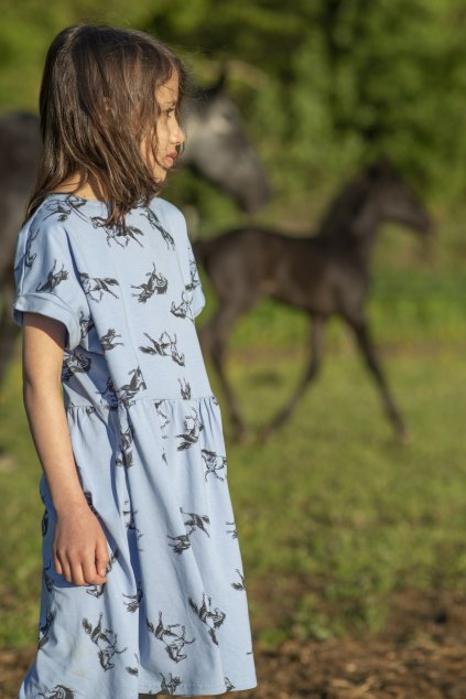 Dětské šaty úplet s autorským potiskem - koně modré