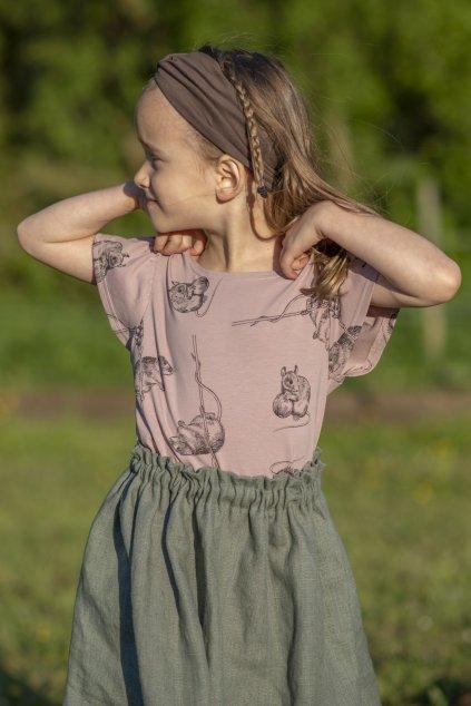 Dívčí triko s nařasenými rukávy a autorským potiskem - myšky starorůžové