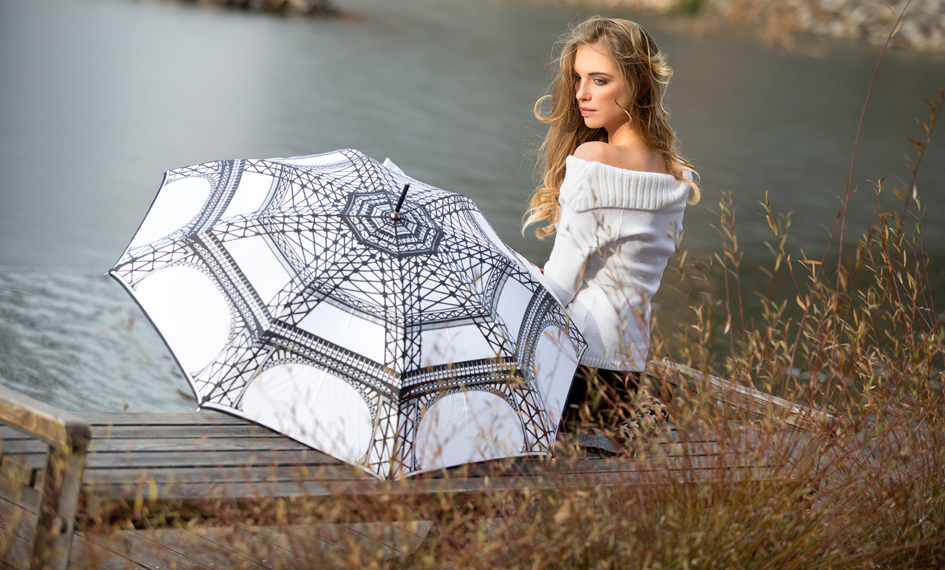 Dámský deštník Paříž bílý