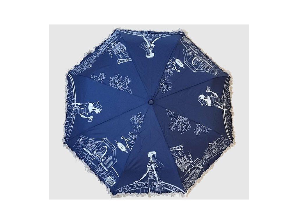 dámský skládací deštník s volánkem modrý