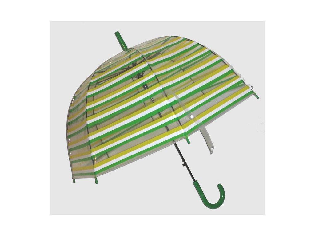 Průhledný deštník zelený proužek