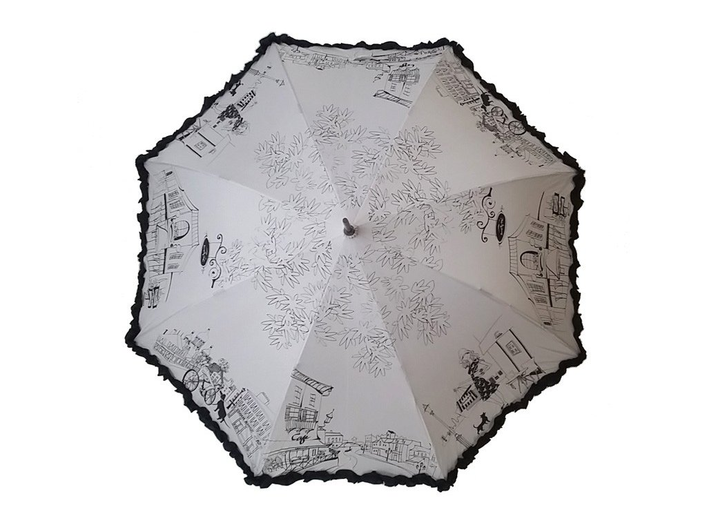 Dámský holový deštník Kavárna krémový