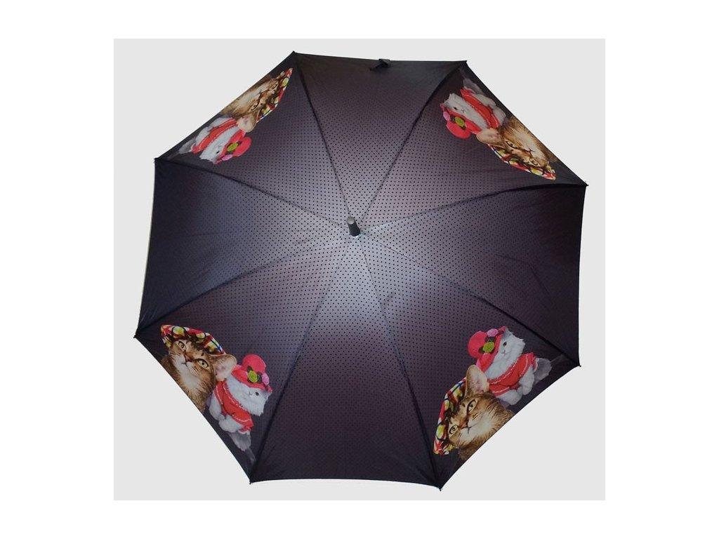 Dámský holový deštník POP Kočky s kloboukem