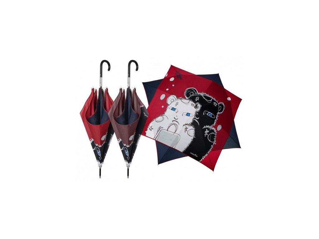 Luxusní dámský holový deštník Perletti - Maison, Medvídek čtverec