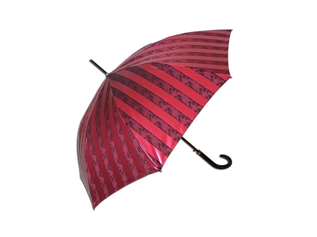 Dámský holový deštník JACQUARD červený pruhy