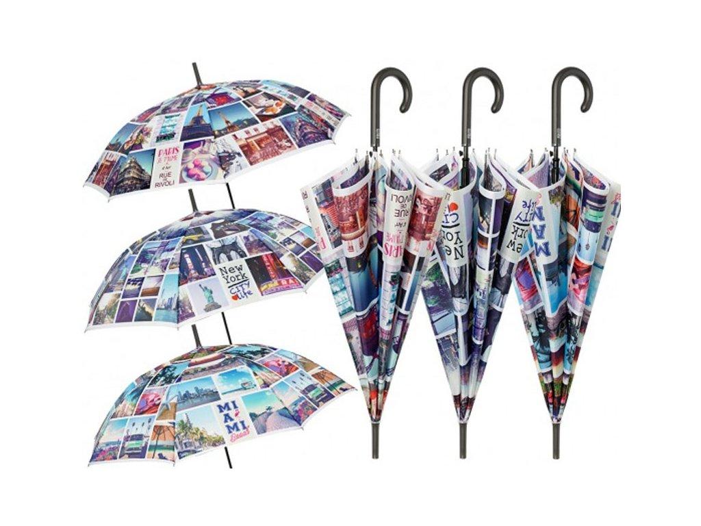 Dámský holový deštník Pohlednice z měst